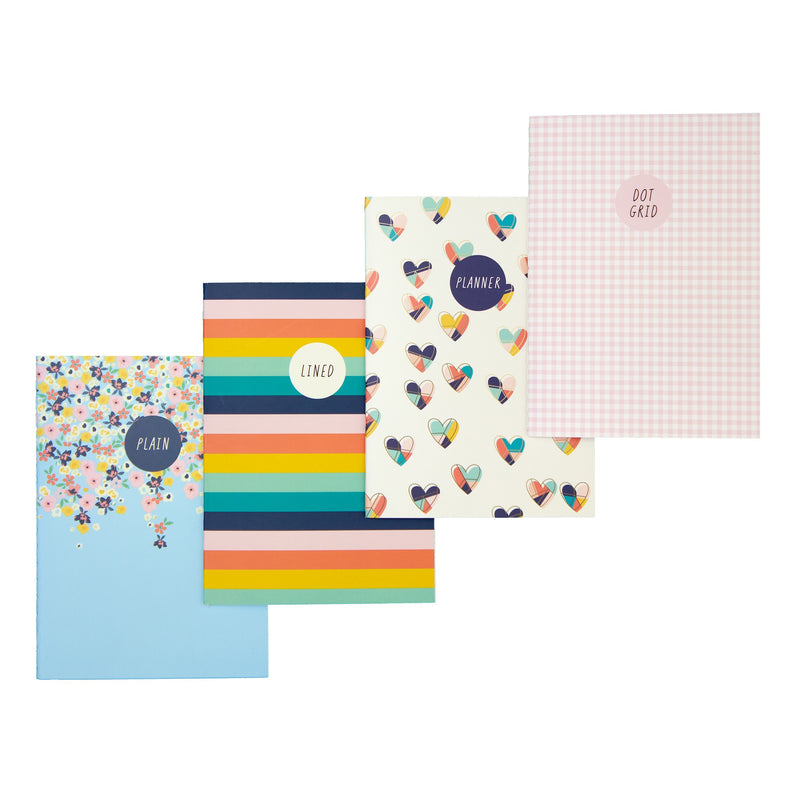 Hearts A6 4 Pack Notebooks