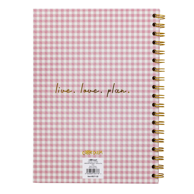 Ballerina Pink Check B5 Hardcover Notebook
