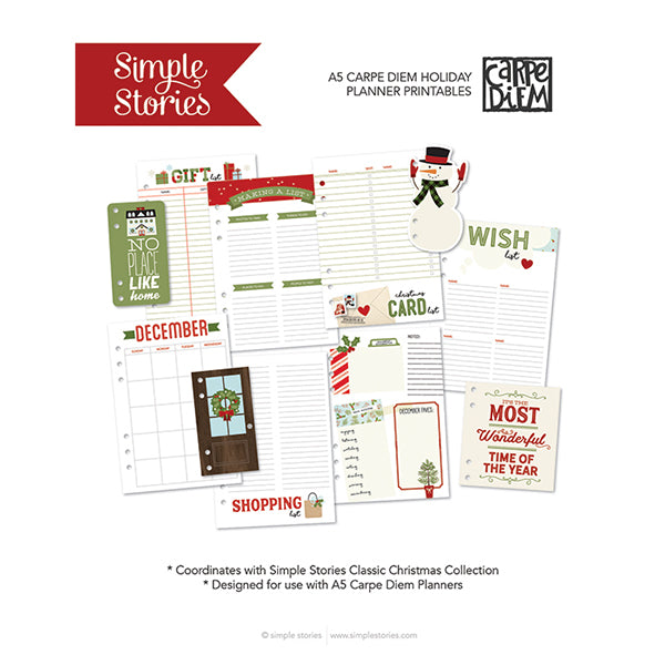 Classic Christmas A5 Planner Printables - Freebie