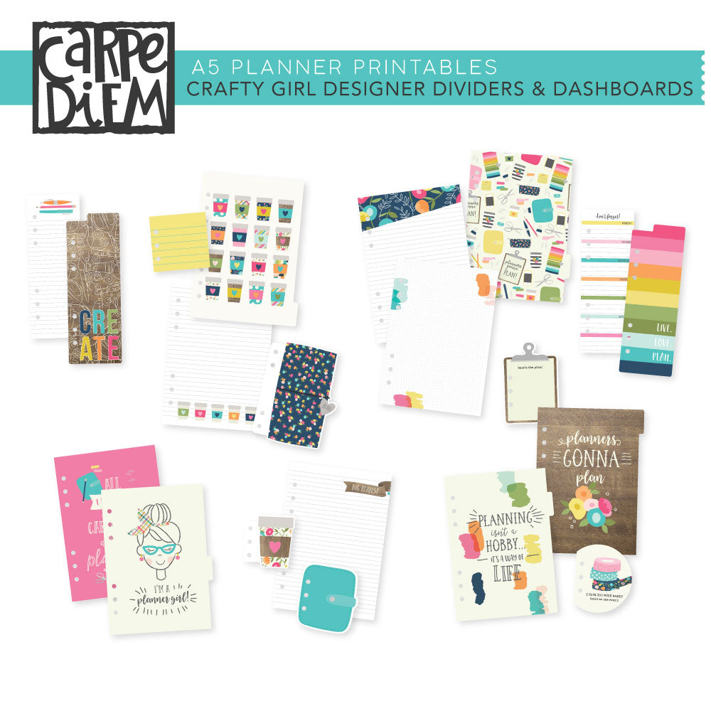 Crafty Girl A5 Planner Printables - Designer Dividers & Dashboards