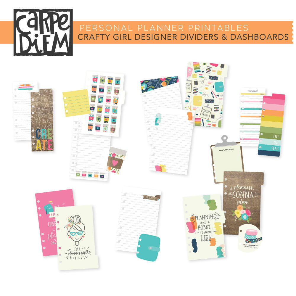 Crafty Girl Personal Planner Printables - Designer Dividers & Dashboards