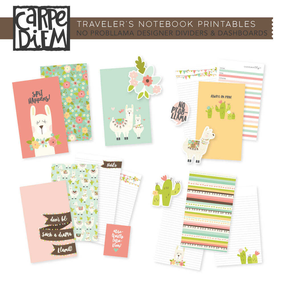 No ProbLlama Traveler's Notebook Printables - Designer Pages & Dashboards