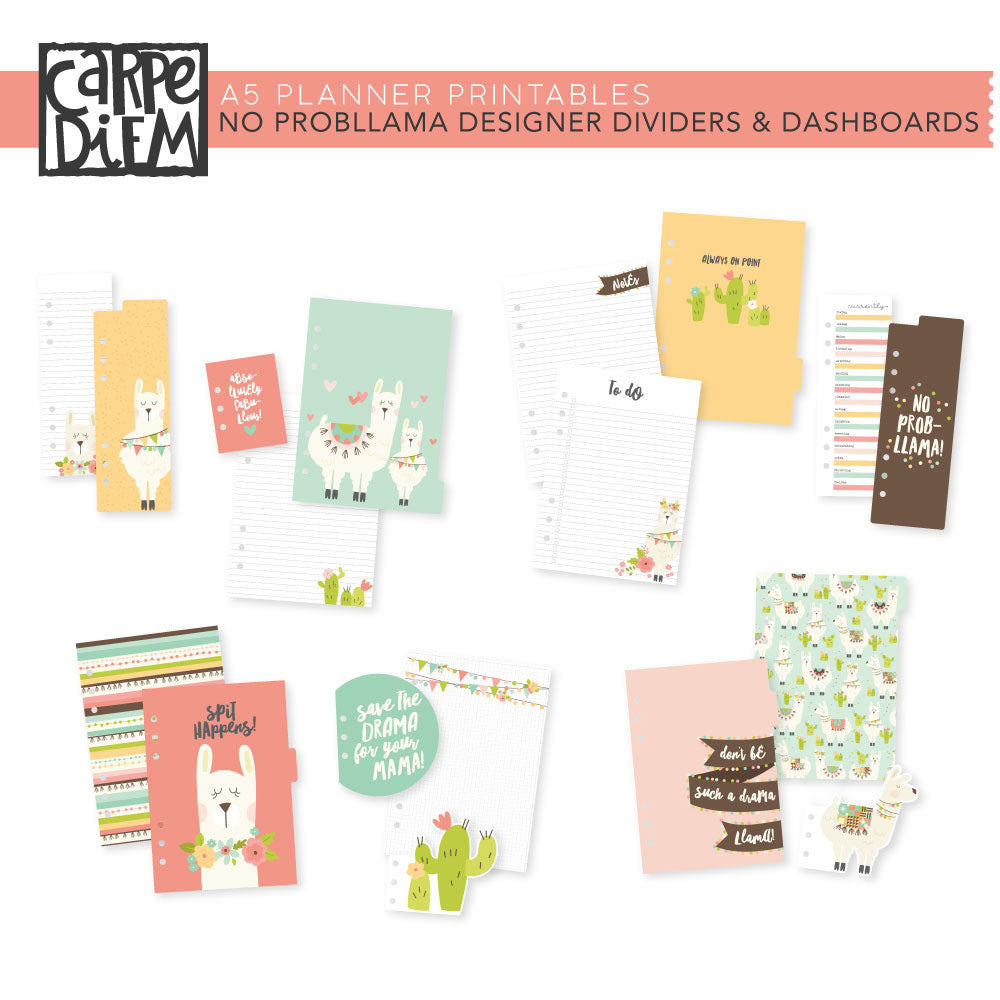 graphic relating to Printable Dividers named No ProbLlama A5 Planner Printables - Designer Dividers Dashboards