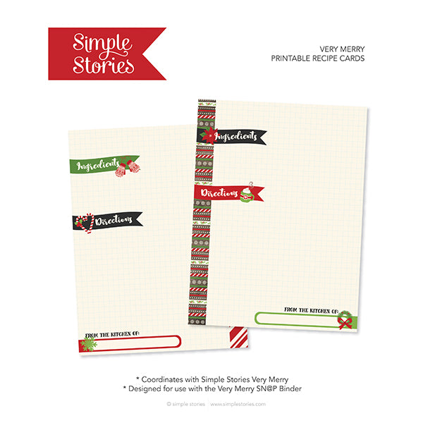 Very Merry Recipe A5 Planner Printables - Freebie