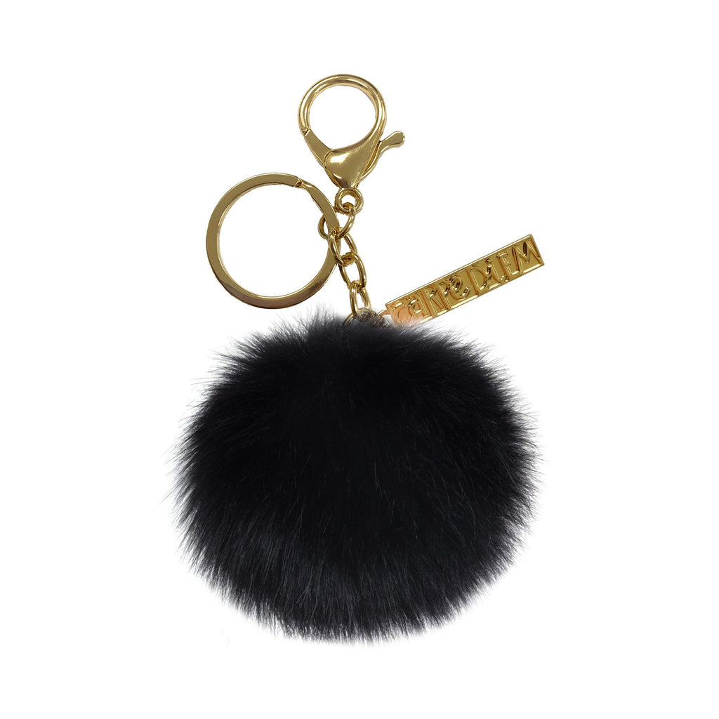 NEW Black Pom Pom Keyring