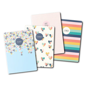 NEW Hearts A6 4 Pack Notebooks