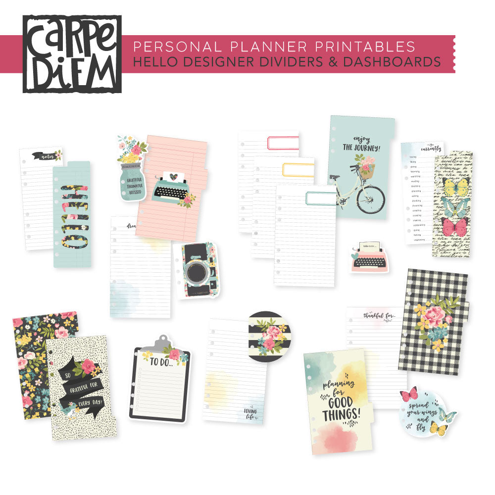 Hello Personal Planner Printables - Designer Dividers & Dashboards