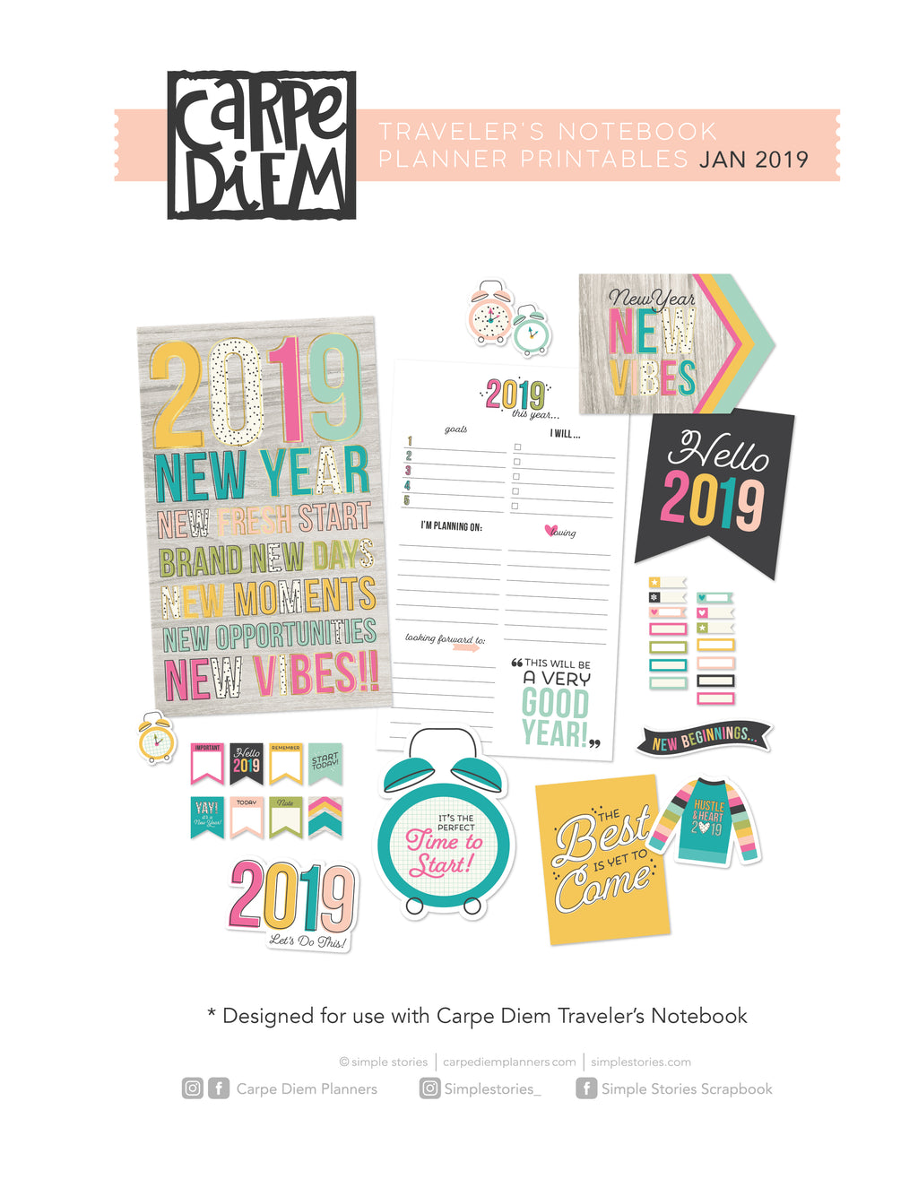2019 Traveler's Notebook Printables - January Freebie