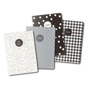 NEW Monochrome A6 4 Pack Notebooks