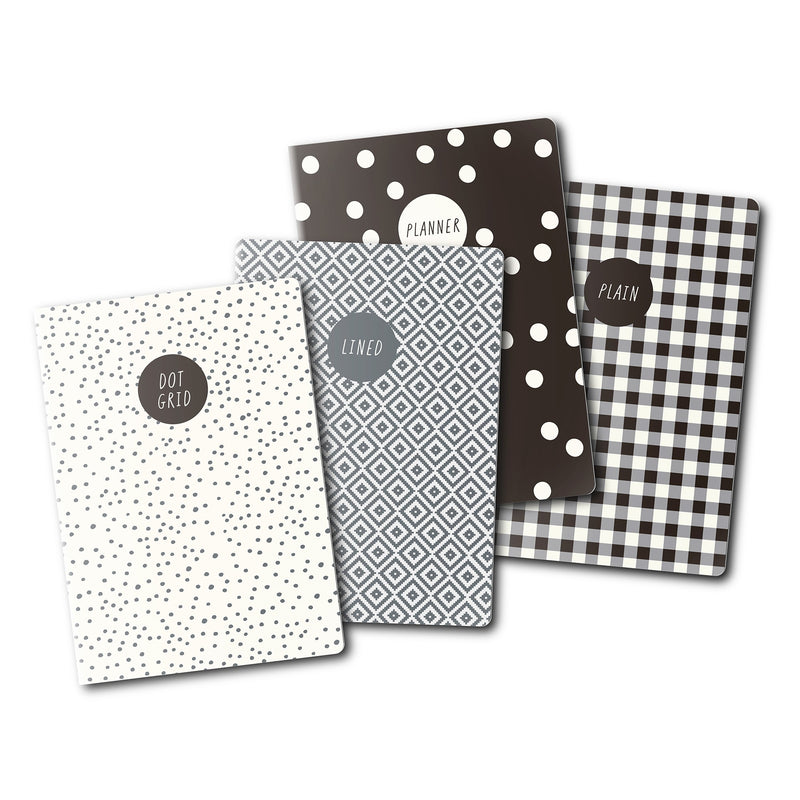 Monochrome A6 4 Pack Notebooks