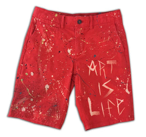 "GuzFurbished ""ART IS LIFE"" Red Shorts (Size 28)"