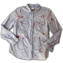 "GuzFurbished ""MASSACRE"" Denim Button Up Shirt (Women's Large)"