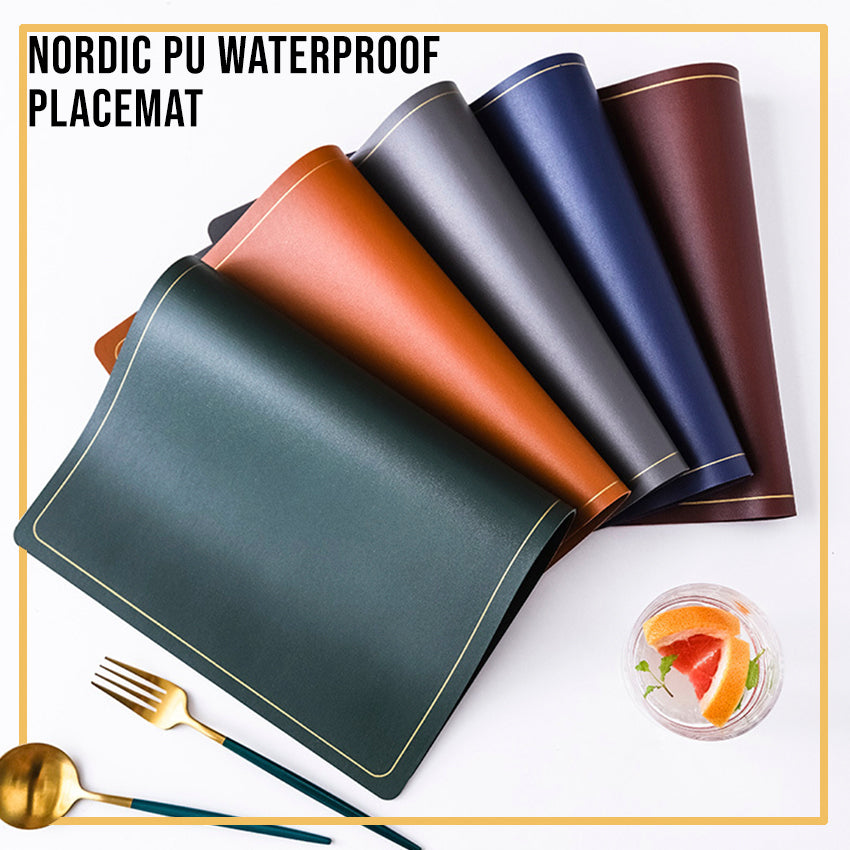Nordic PU Waterproof Placemat / 7 choices of colors / Dining table placemat / Dining table placemat / CNY / Hari Raya