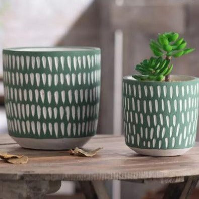 Nordic Green Series Droplets Design Ceramic Hand-made Flower Pot