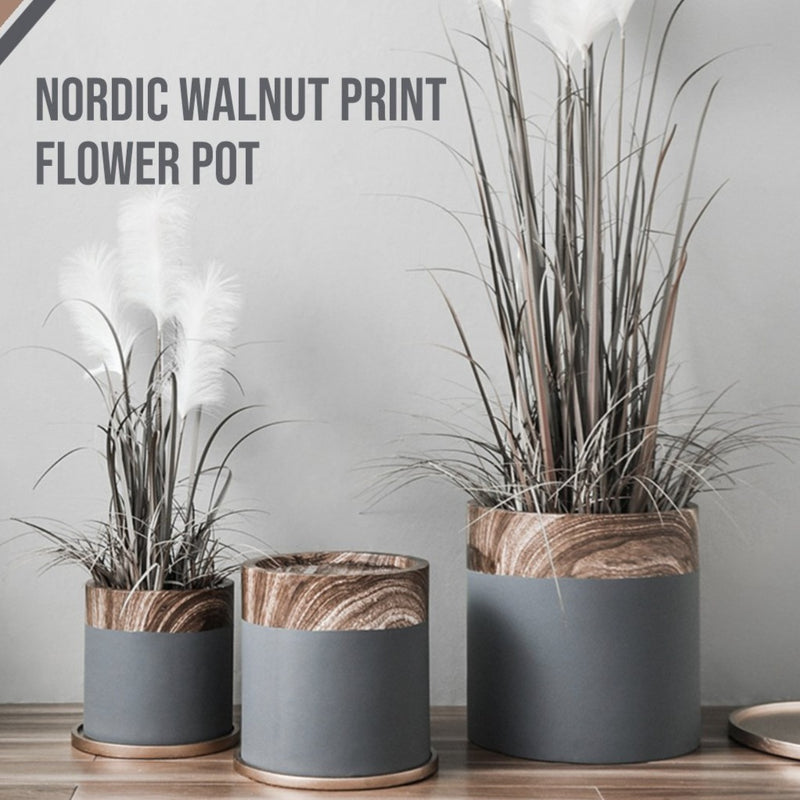 Nordic Walnut Print Flower Pot