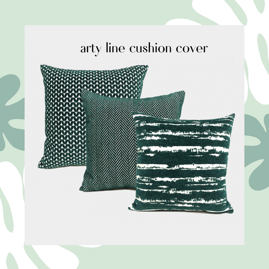 Arty Lines Cushion Cover / Green collection cushion cover
