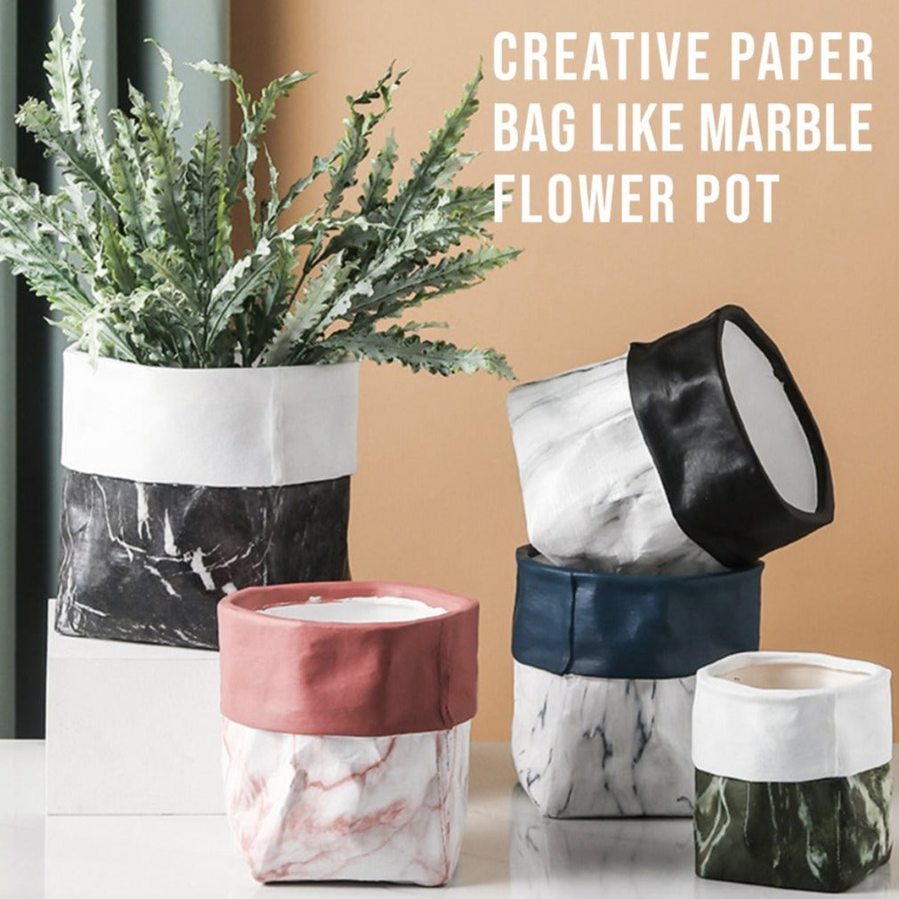 Creative Paper Bag Like Marble Flower Pot