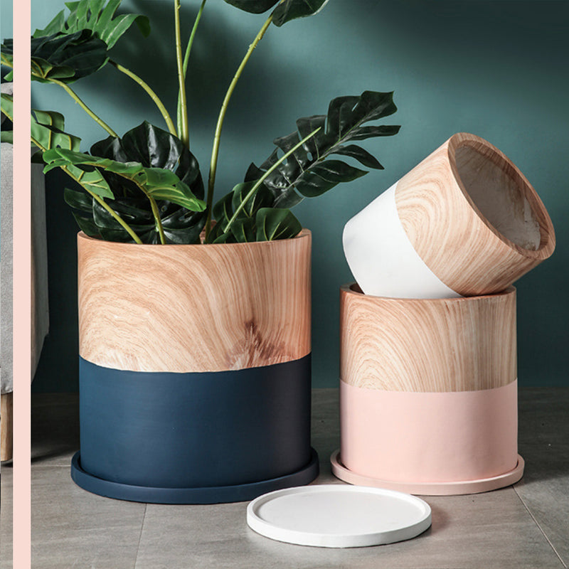 Nordic Light Wood Print Flower Pot