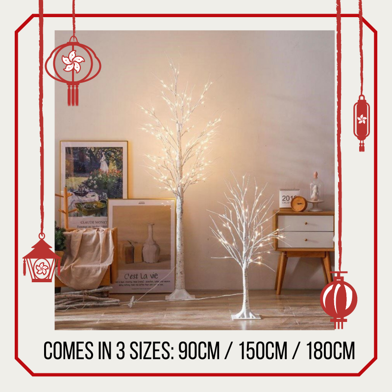 [XMAS PROMO] Christmas LED Birch Twig Trees Indoor Outdoor Use / Warm White LED Light Silver Birch Twig Tree