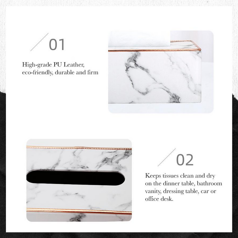 Marble PU Leather Facial Tissue Box Cover Napkin Holder Paper Towel Dispenser Container for Home Office Car