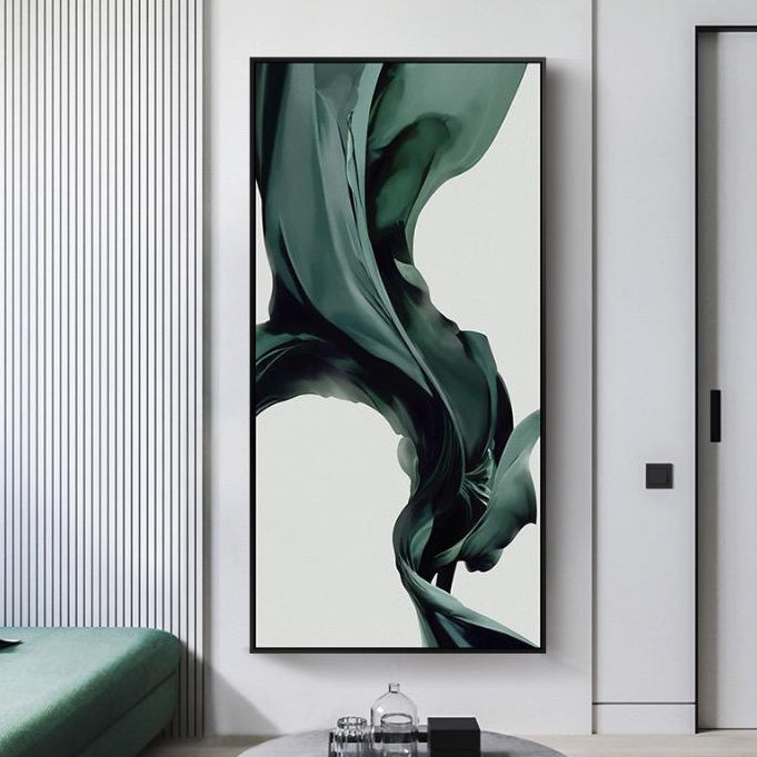 Nordic Abstract Green Waves Long Canvas Wall Art Poster with Wooden Frame - Speckled Space
