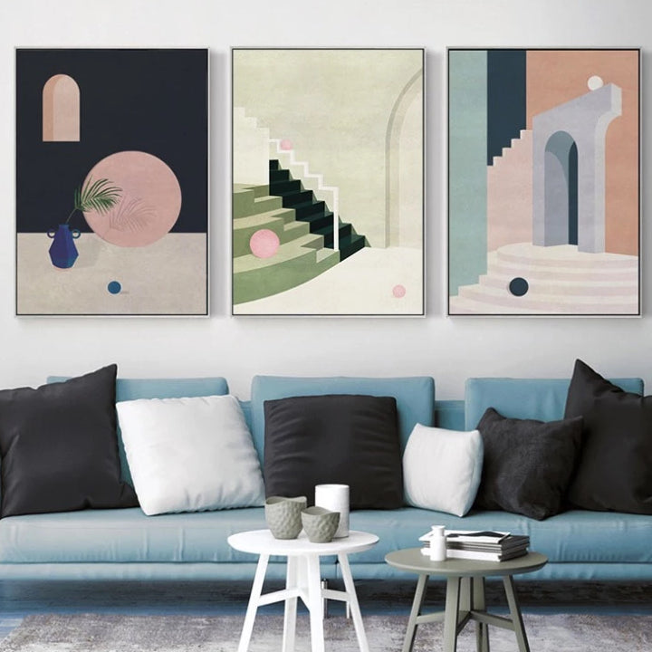 Nordic Pastel Grey Geometric Canvas Wall Art Poster with Wooden Frame