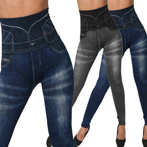 Jean Leggings Slim Elastic Seamless Pants Plus Sizes