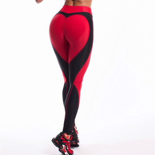 Heart Shape Leggings Black Red