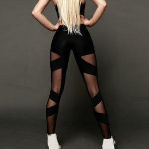 Ladies High Waist Mesh Leggings
