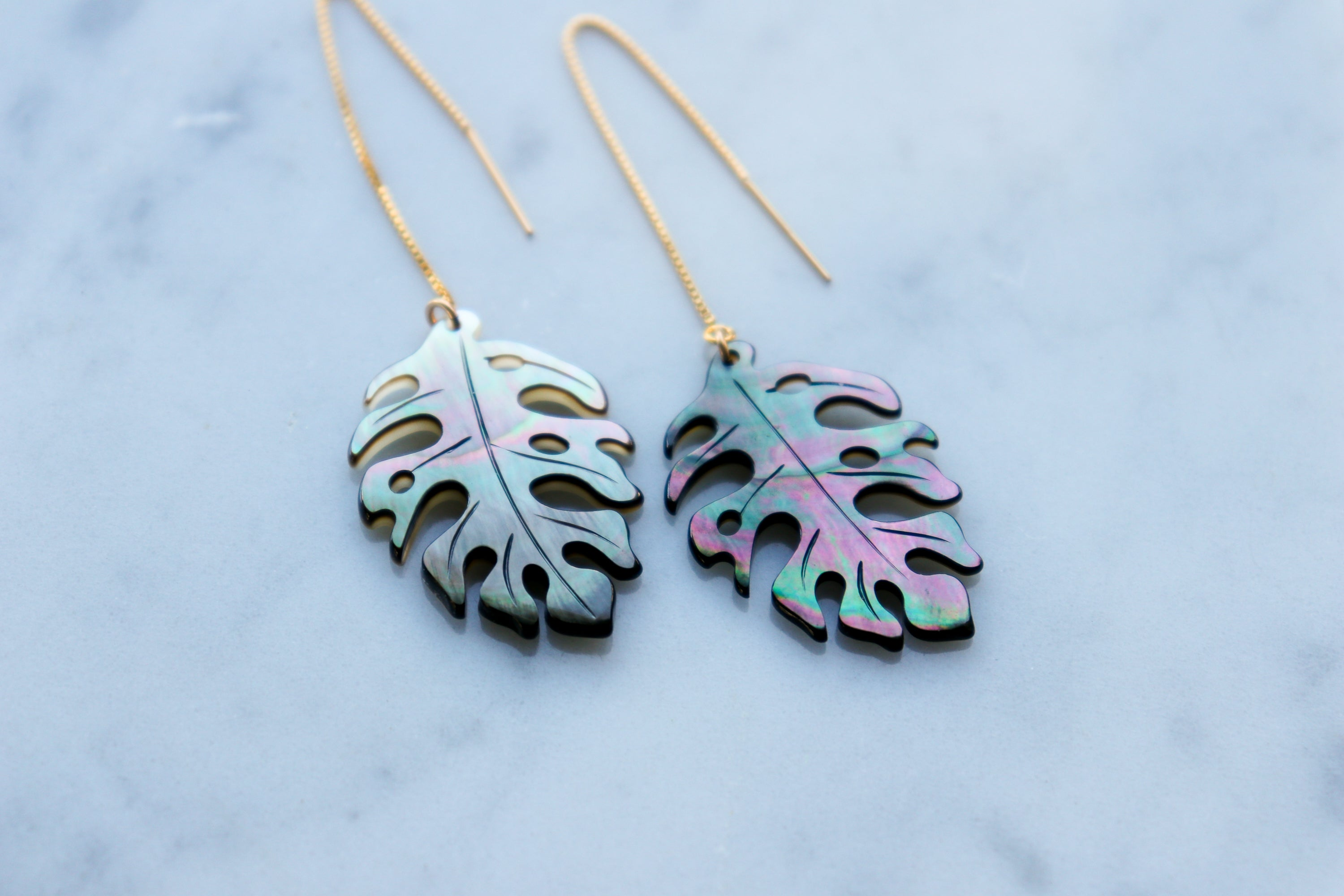 monstera threader earrings...