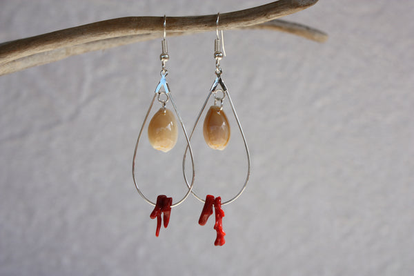 Leina Red Coral Earrings