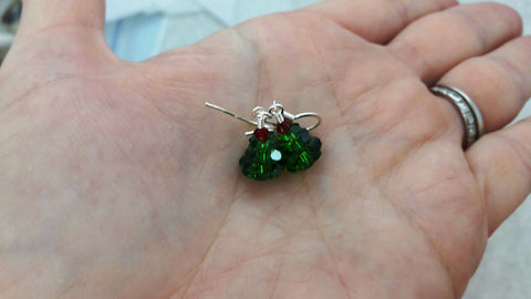 Short Christmas Tree Earrings