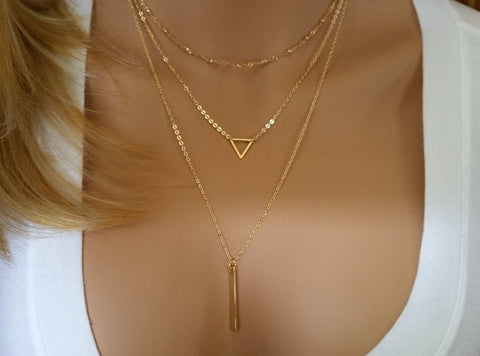 Triangle Layering Necklace Set • Gold