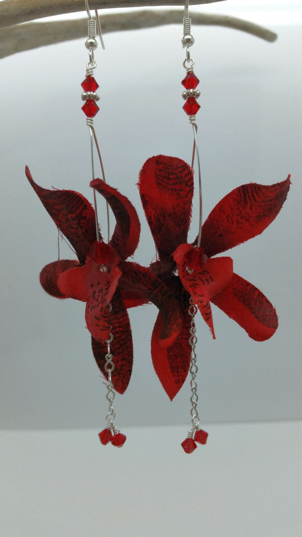 Orchid Earrings • Red