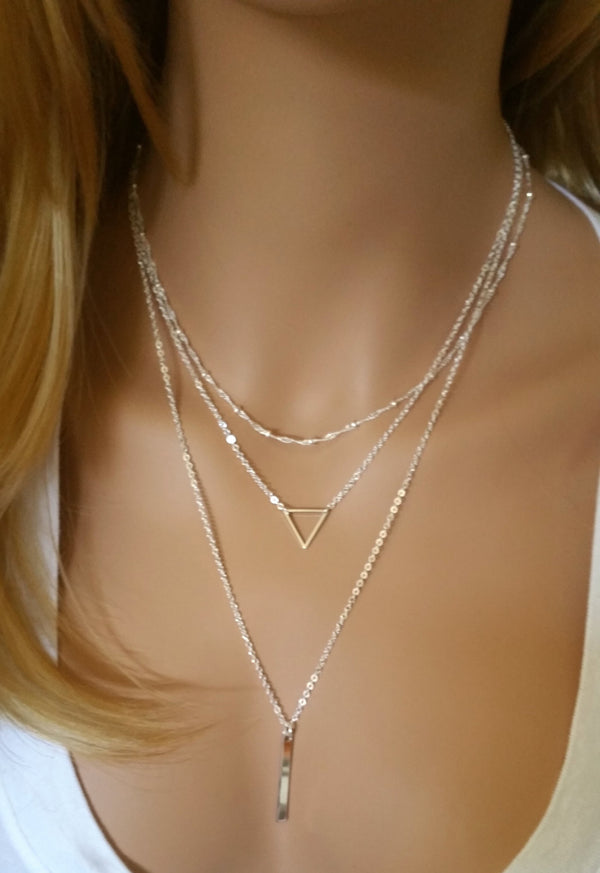 Triangle Layered Necklace Set of 3 • Silver