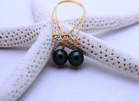 Meahula Momi Earrings • Peacock Pearl