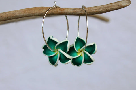 Green Plumeria Flower Earrings