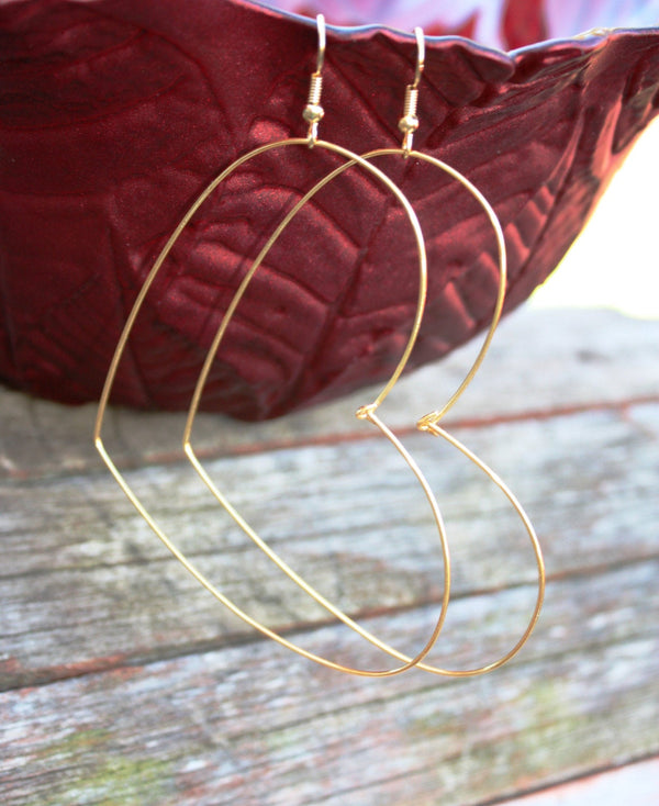 Large Wire Heart Earrings