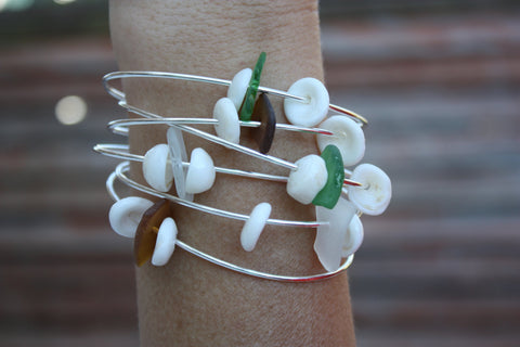 Puka Shell and Sea Glass Bangle