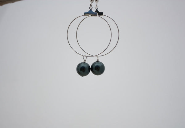 Momi Earrings • Peacock Pearl