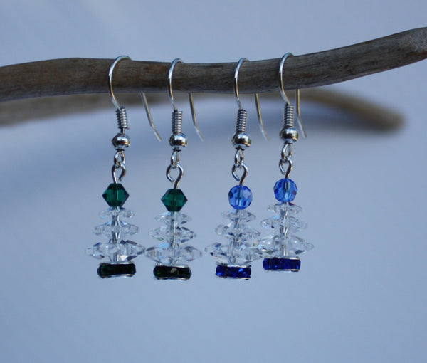 Crystal Christmas Tree Earrings