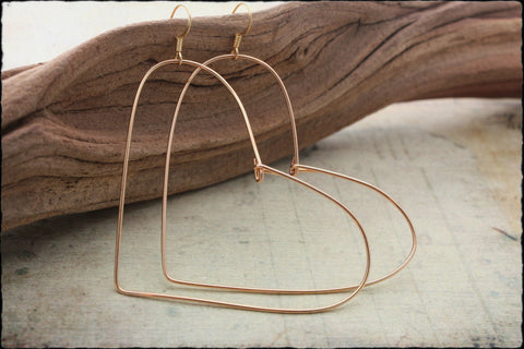 Medium Wire Heart Earrings