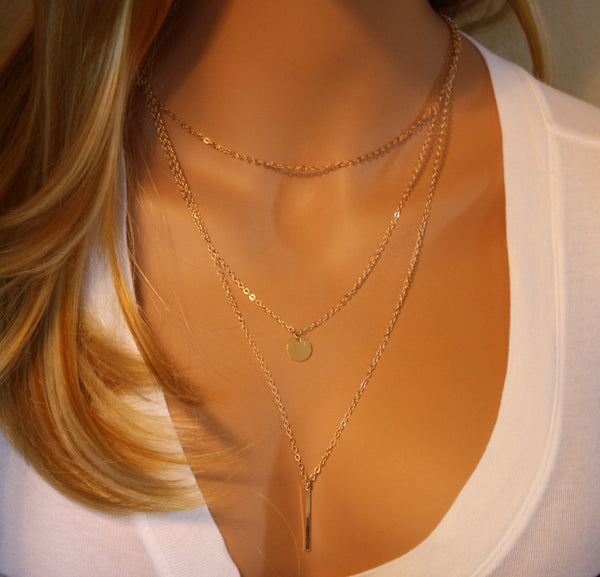 Layering Necklace Set of 3 • Gold
