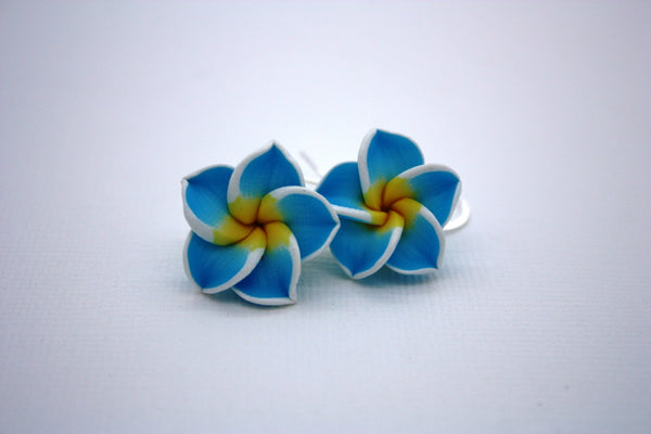 Blue Plumeria Flower Earrings