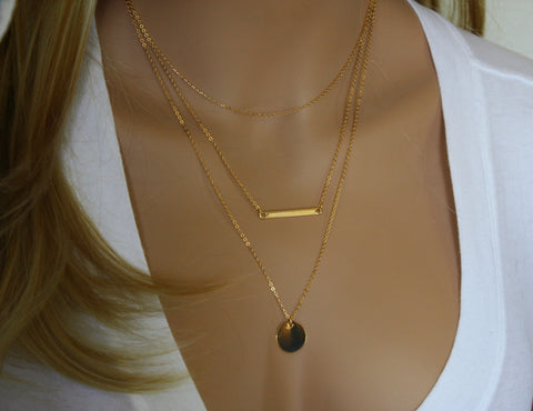 Layering Personalized Disc / Bar Necklace Set of 3