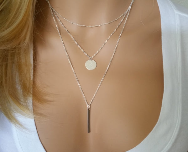 Personalized Disc Verticle Bar Layering Necklace Set of 3