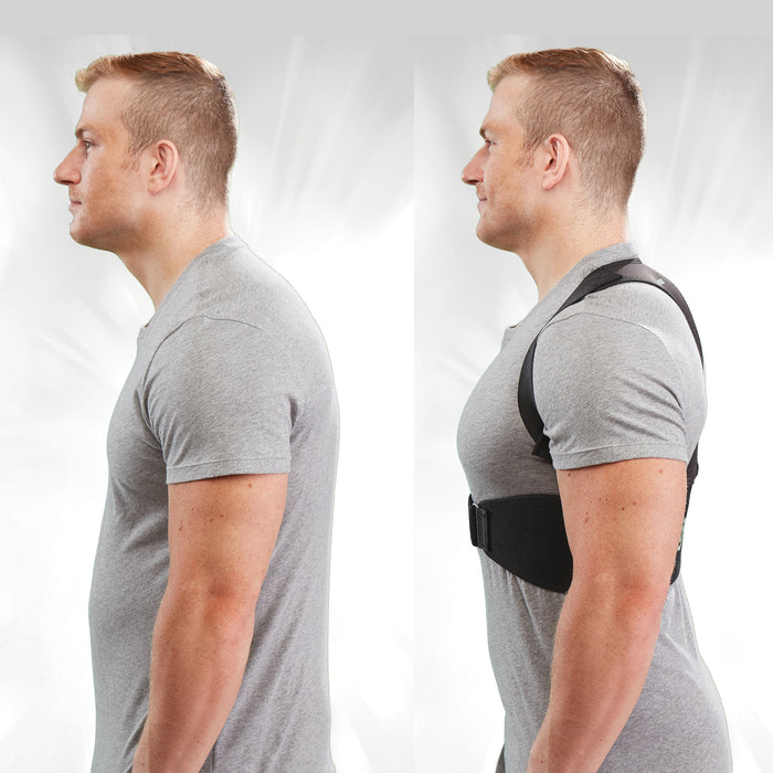Deluxe Hempvana Arrow Posture side by side of a man without and with arrow posture