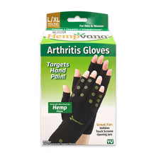 Load image into Gallery viewer, Hempvana Arthritis Gloves packaging image