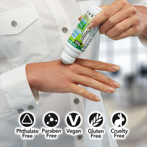 Hempvana Cold As Ice being applied on hand with benefits listed Phthalate-free, paraben-free, gluten-free, and cruelty-free