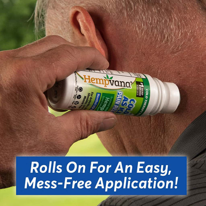 Hempvana Cold As Ice used by a man on the neck - rolls on for easy mess-free application